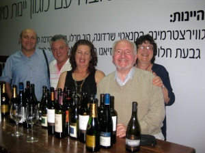 Travel Journalist John Trew (right) with Dr Karen Trew behind, pictured at an Israeli wine promotion (they are both teetotal!) in a Tel Aviv Restaurant with their new Israeli friends,from far left, Benjamin-Gad Ninnayi , Director of Hosting Operations, Israel Ministry of Tourism, Zvika Abramovich, tour escor/driver, and Irit Doron, regarded as Israel's best tour guide. If any NIFI members are thinking of organising any group visit to Israel, John Trew will pass on their contact information.