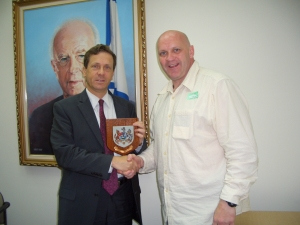 Ministerial approval: Terry McCorran meets Israeli minister Isaac Herzog, Nov 2009