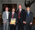 Colin with from left, councillors Guy Spence, William Humphreys MLA and Thomas Hogg